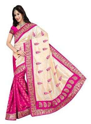 f4747d5fbda Buy ISHIN Pink And Beige Bhagalpuri Silk Saree Online at Low Prices ...
