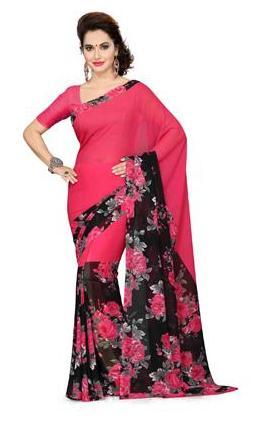 Ishin Pink Georgette Printed Women's Saree