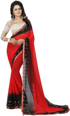 Ishin Poly Chiffon Red & Black Bandhani Printed Women Saree With Lace