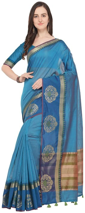 Ishin Poly Cotton Blue Woven Womens Saree With Tassels