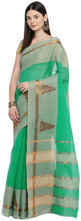 Ishin Cotton Dupion Zari work Saree - Green , With blouse