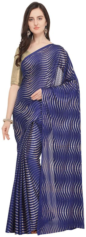 Ishin Poly Georgette Navy Blue Foil Printed Womens Saree