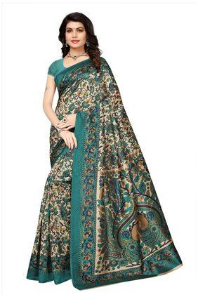 Ishin Poly Silk/ Blended Mysore Silk Beige kalamkari Printed Women's Saree/Sari