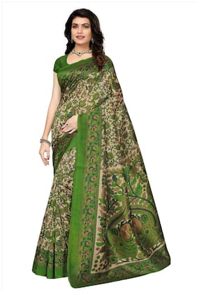 Ishin Silk Mysore Embroidered work Saree - Green , Without blouse