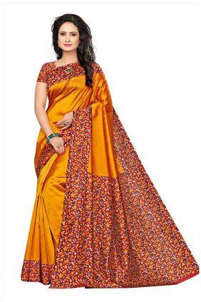 Ishin Poly Silk/ Blended Mysore Silk Mustard Yellow kalamkari Printed Women's Saree/Sari