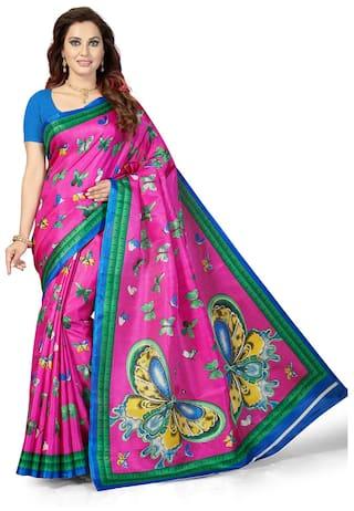 b4d9ffed9 Ishin Poly Silk  Blended Mysore Silk Navy Blue Printed Women s Saree Sari  With Tassels