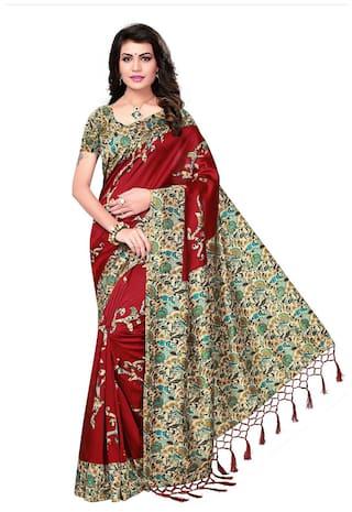 e427e0bfa6e Ishin Poly Silk  Blended Mysore Silk Red Printed Women s Saree Sari With  Tassels