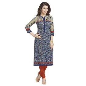 Ishin Pure Cambric Cotton Blue Printed Party Wear Wedding Wear Casual Daily Wear Office Wear Festive Wear Bollywood New Collection Latest Design Trendy Women's Unstitched Kurti/Kurta Fabric
