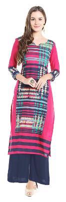 Ishin Rayon Blue Printed Anarkali Party Design Trendy Women's Kurta & Palazzos Set