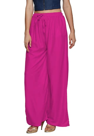 Women's Ishin Purple Palazzos Rayon Solid Flared TxWvInUWgZ