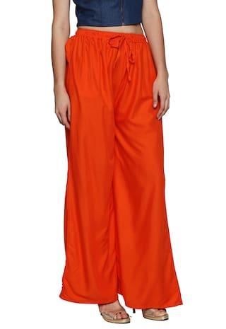 Flared Rayon Orange Solid Women's Palazzos Ishin UROnxS0x