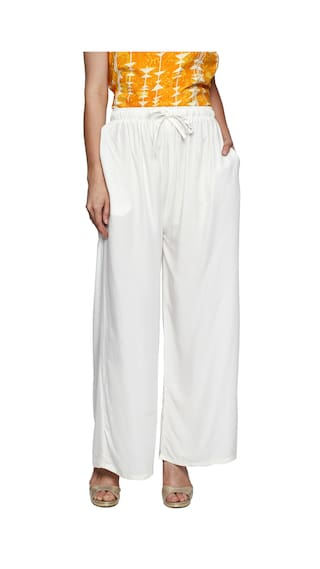 Solid Flared Ishin White Rayon Women's Palazzos q4T6ZS