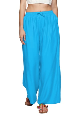 Ishin Rayon Blue Solid Flared Women's Palazzos