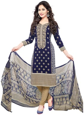 Ishin Blended Printed Dress Material for Kurta - Blue