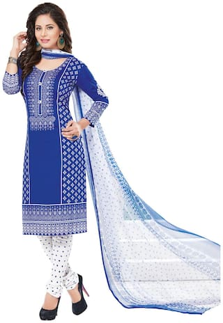 Ishin Women's Synthetic Blue & White Bollywood Printed Unstitched Salwar Suit Dress Material (Anarkali/Patiyala) With Dupatta
