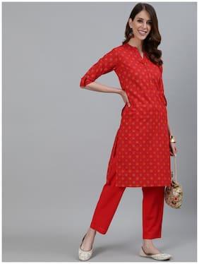 Ishin Women's Red Checks Printed Straight Kurta With Trouser