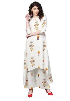 Ishin Women Cotton Off White Printed A-Line Kurta Palazzo Set