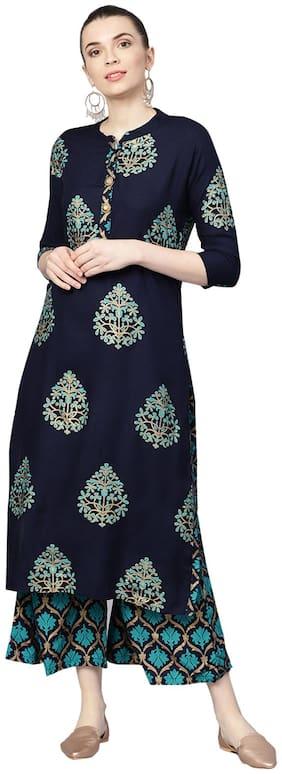 Ishin Women Rayon Printed A-Line Kurta With Palazzo Blue;Turquoise