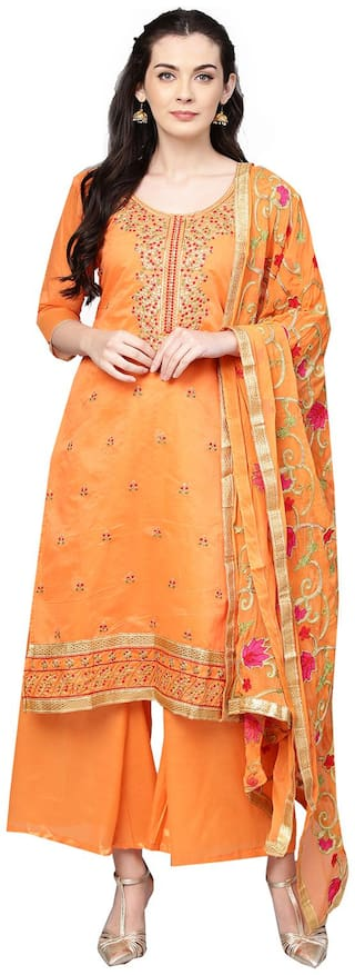 Ishin Women Poly Cotton Orange Embroidered Unstitched Salwar Suit Dress Material With Dupatta