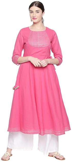 2d1fc81e8c Ishin Women Pink & White Rayon Anarkali Embroidered Kurta Palazzo Sets