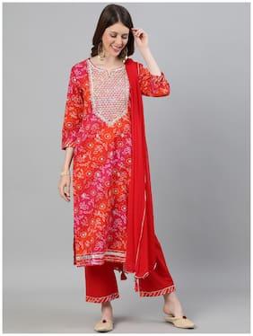Ishin Women's Cotton Multicolor & Red Bandhani Zari Embroidered A-Line Kurta Palazzo Dupatta Set