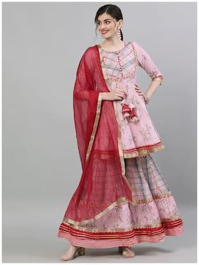 Ishin Women's Rayon Pink Embellished Peplum Kurta Sharara Dupatta Set