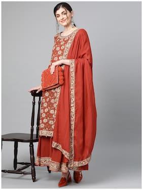 Ishin Women's Cotton Brown Kalamkari Printed A-Line Kurta Palazzo Dupatta Set