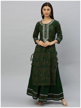 Ishin Women's Cotton Bandhani Print Embroidered A-Line Kurta Sharara Set