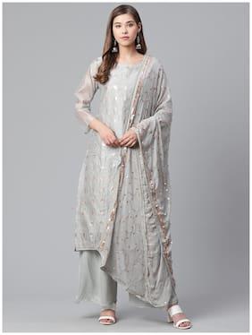 Ishin Women's Chanderi Silk Sequinned Embroidered A-Line Kurta Palazzo Dupatta Set