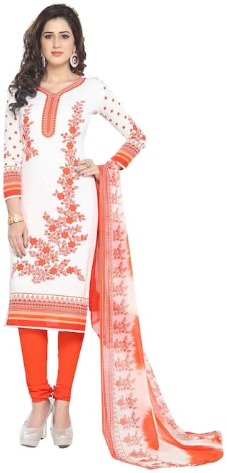 Ishin Women's Synthetic White & Orange Bollywood Printed Unstitched Salwar Suit Dress Material (Anarkali/Patiyala) With Dupatta