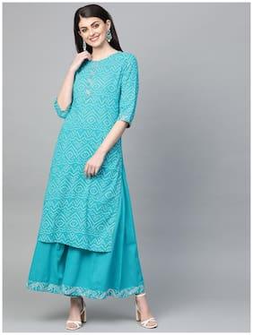 Ishin Women's Cotton Blue Bandhani Print A-Line Kurta Palazzo Set