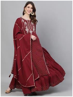 Ishin Women's Rayon Maroon Yoke Embroidered Straight Kurta Skirt Dupatta Set