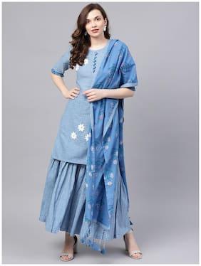 Ishin Women's Cotton Blue Embroidered A-Line Kurta Sharara Dupatta Set