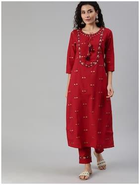 Ishin Women's Red Yoke Embroidered A-Line Kurta Trouser Set