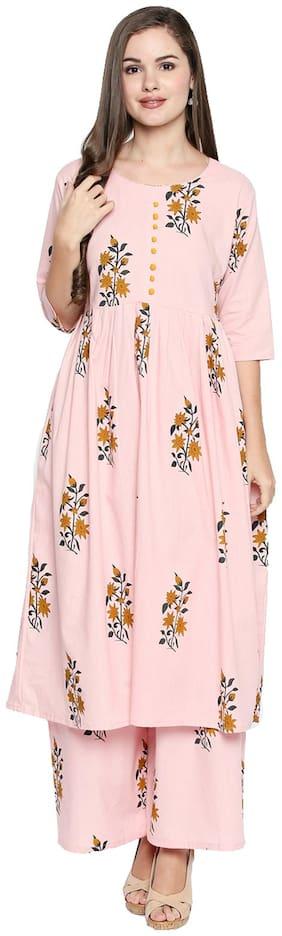 Ishin Women's Cotton Pink Printed Anarkali Kurta Palazzo Sets
