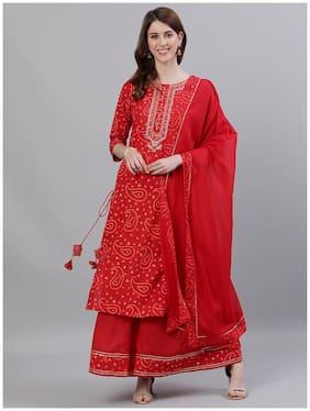 Ishin Women's Cotton Red Bandhani Embroidered A-Line Kurta Sharara Dupattta Set
