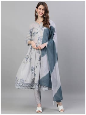 Ishin Women's Cotton Grey Lurex Embroidered Anarkali Kurta Trouser Dupatta Set