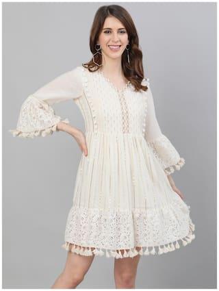 Ishin Women's Cotton Off White Lurex Embellished A-Line Dress