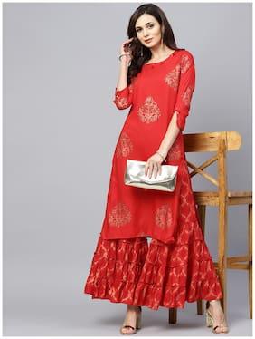 Ishin Women's Rayon Red Foil Printed With Sequin Work A-Line Kurta Sharara Set