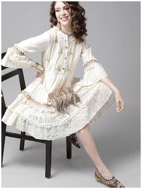 Ishin Women's Cotton Off White Lurex Embroidered A-Line Dress