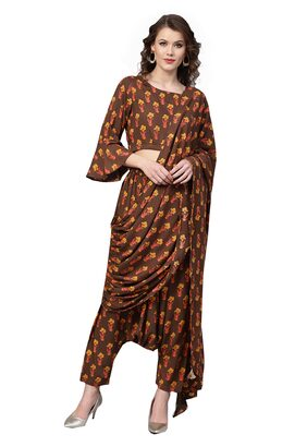 Ishin Womens Rayon Brown Printed Palazzo Saree Style With Stitched Printed Blouse Suit Set