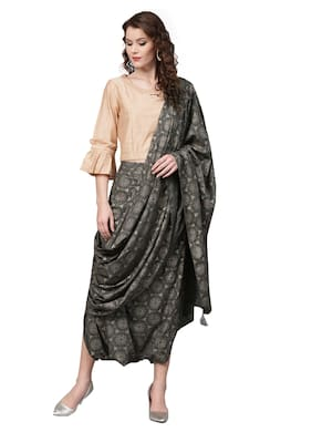 cce139ab181 Ishin Womens Rayon Grey Printed Palazzo Saree Style With Stitched Solid  Blouse Suit Set