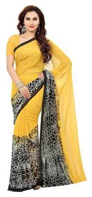 Ishin Georgette Universal Block print work Saree - Yellow , With blouse
