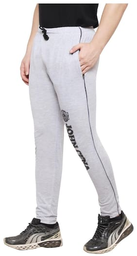 iSHU Men Cotton Track Pants - Grey