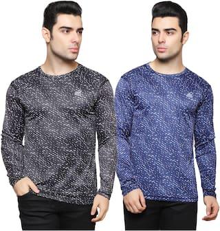 iSHU Men Black & Blue Slim fit Lightweight Sports T-Shirt