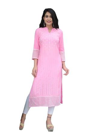 Ishwar Women Pink Embroidered Straight Kurti