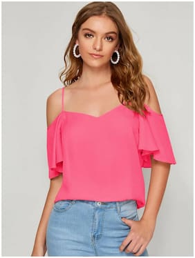 ISTYLE CAN Women Solid Regular top - Pink