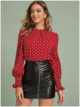 ISTYLE CAN Women Polka dots Regular top - Maroon