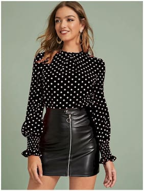 ISTYLE CAN Women Polka dots Regular top - Black