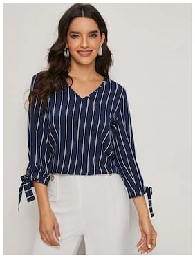 Istyle Can Women's Crepe Striped Regular Top (Navy Blue)